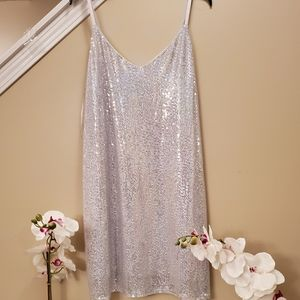 Junior plus party club slip dress with sequin